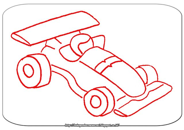 Gambar Mewarnai - Mewarnai Gambar Mobil Balap Sederhana.   Gambar di atas adalah gambar mewarnai...