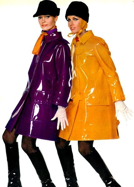 """I just love the look of the """"Mod"""" 1960's rainwear. L'Officiel 1966.1960s fashion"""