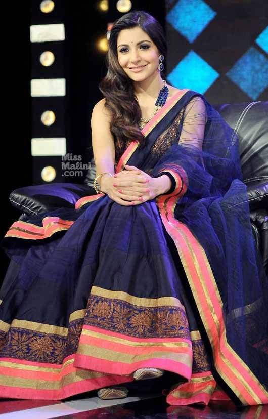 Anushka Sharma in blue lehenga with pink and gold border