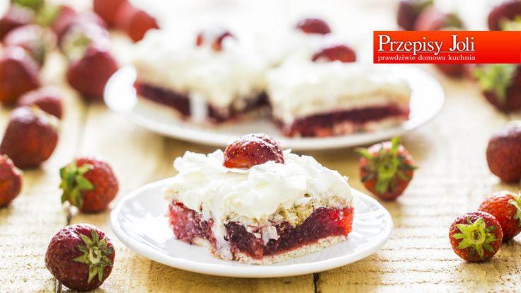 TRUSKAWKOWE CIASTO Z GALARETKĄ - pyszne ciasto bez pieczenia.