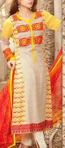 Buy Yellow/Off-White Printed Swiss Voile Dress by Charizma Lawn Spring 2015 Collection.