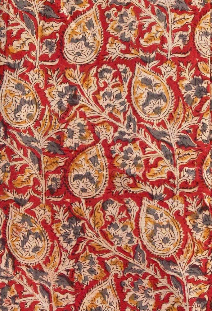 Kalamkari Block Printed Cotton Running Fabric | India1001.com
