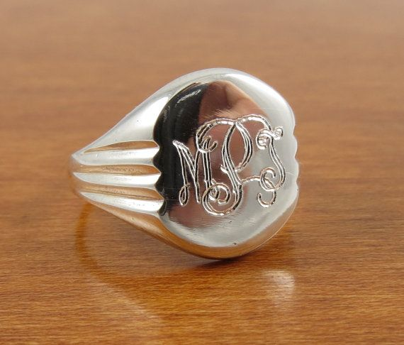 Monogram Ring Signet Ring Initial Ring by tiposcreations on Etsy, $44.95