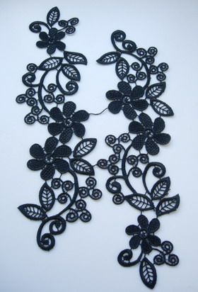 VT111 Black Venise Venice Lace Applique L&R Pair Floral ...