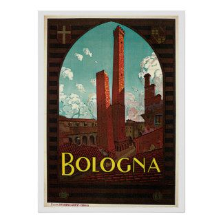 Bologna Two Towers Italy Vintage Travel Posters