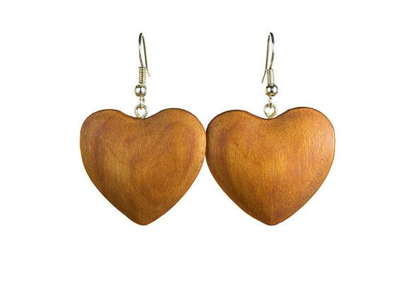 Carved wood earrings heart shaped by WoodenJewelryArt on Etsy