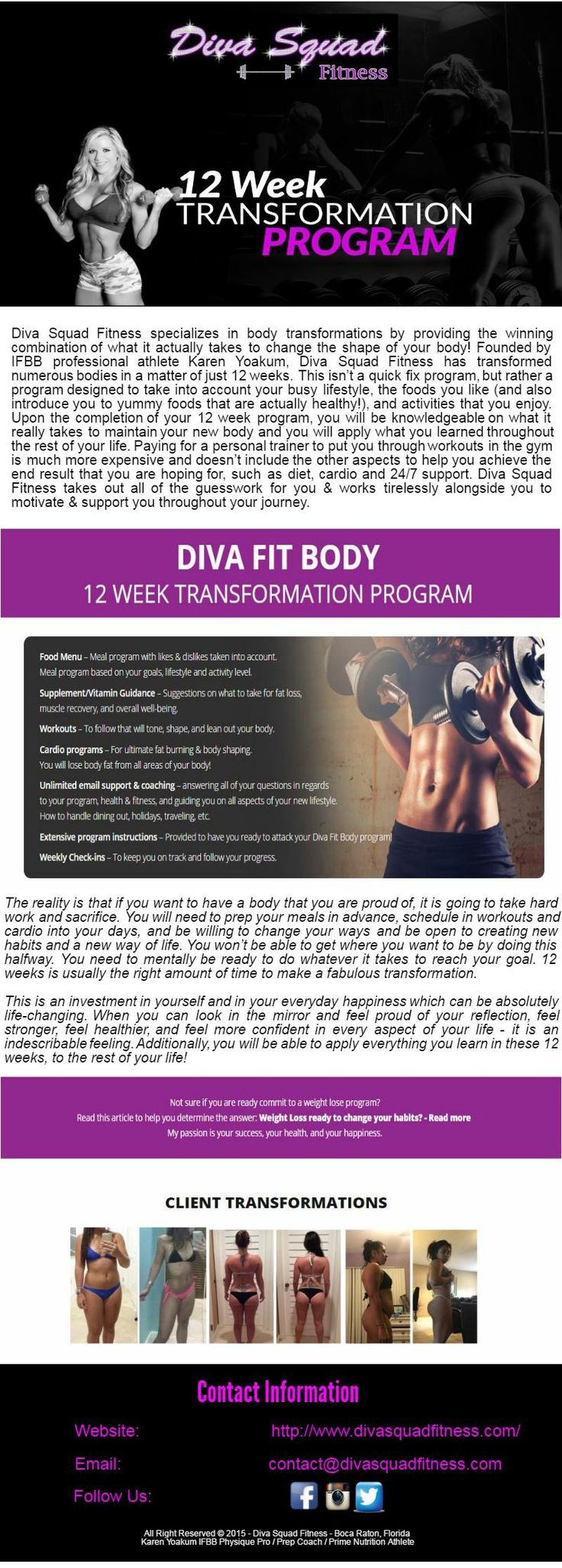 Diva Squad Fitness offers #FitnessPrograms to local, national & global customers for competition preparation & also offers coaching programs for people who interested in non-contest 12 week body transformations. Customers are supplied with meal programs, workout programs, cardio programs and supplement programs which give all the instruments required to acquire one's greatest ever body. Diva Squad Fitness coaches NPC/IFBB Bikini, Figure, and Women's Physique competitors.