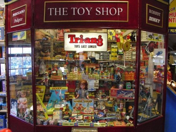 How toy shops used to look, the windows stuffed with every type of toy a child could wish for.