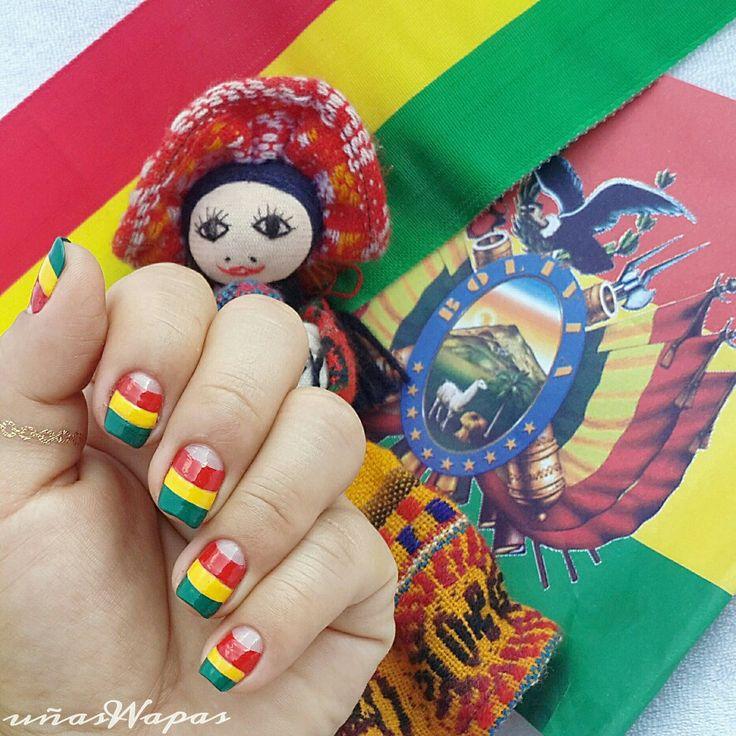 Felicidades #Bolivia hoy 6 de agosto 191 años de tu independencia #vivamipatriabolivia,#independenceday,#august6th,#nailwapas,#uñaswapas,#bolivianflag,#flag,#redyellowgreen,#bolivianails,#giselle,#nailsdesing,#nails