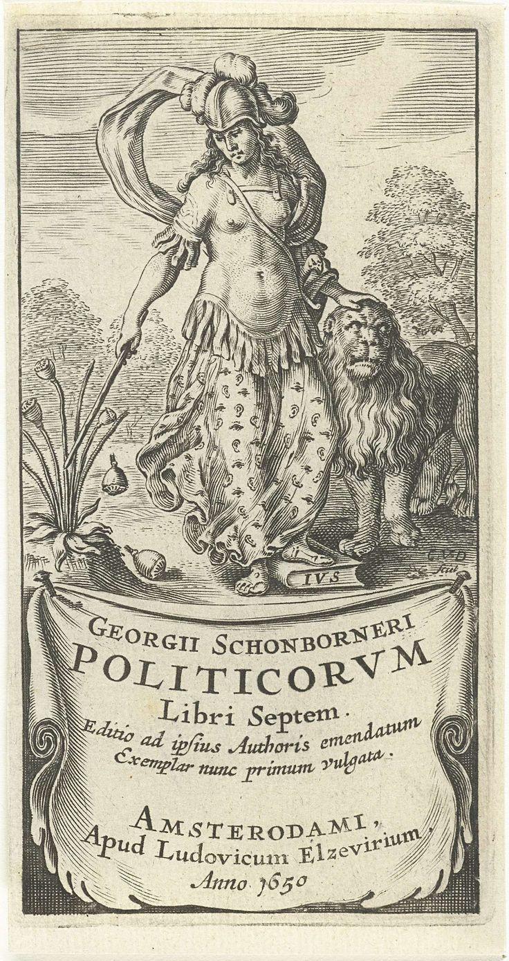 Cornelis van Dalen (I) | Kracht als vrouwelijke soldaat in wapenrusting met leeuw, Cornelis van Dalen (I), Lowijs Elzevier (III), 1650 | Vrouwelijk personificatie van Kracht of Moed, één van de kardinale deugden, gekleed als soldaat in wapenrusting. Haar hand rust op de kop van een leeuw en met een stok slaat zij zaadbollen van een papaverplant. Op een doek of cartouche staat de titel.