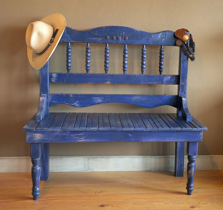 Bench built from a twin-sized headboard. Love the color
