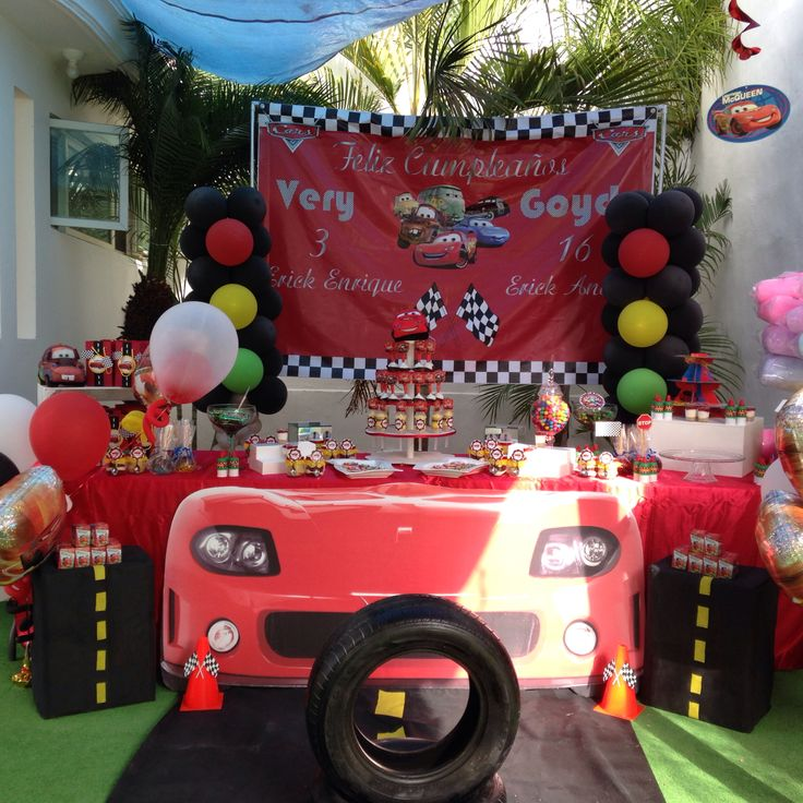 Cars party balloon decorations dessert table balloons for Balloon decoration birthday party chennai