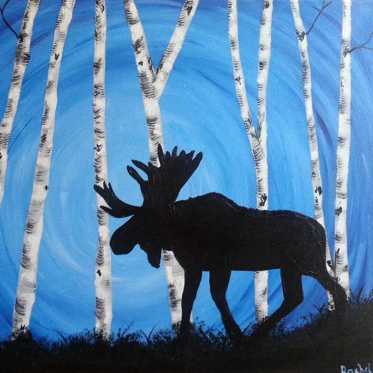 A personal favorite from my Etsy shop https://www.etsy.com/listing/267172475/silhouette-of-a-moose-in-a-grove-of Moose art Moose painting