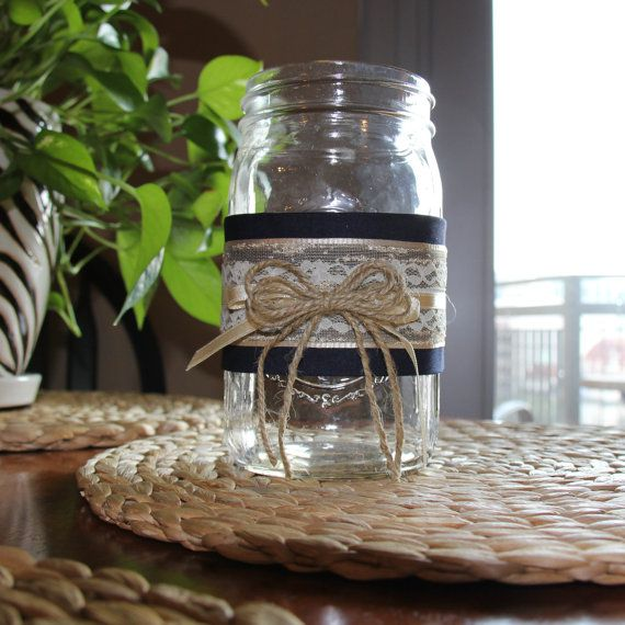 Set of 5 rustic lace and burlap twine quart sized mason jars with navy blue wrap - great for wedding decoration or centerpiece