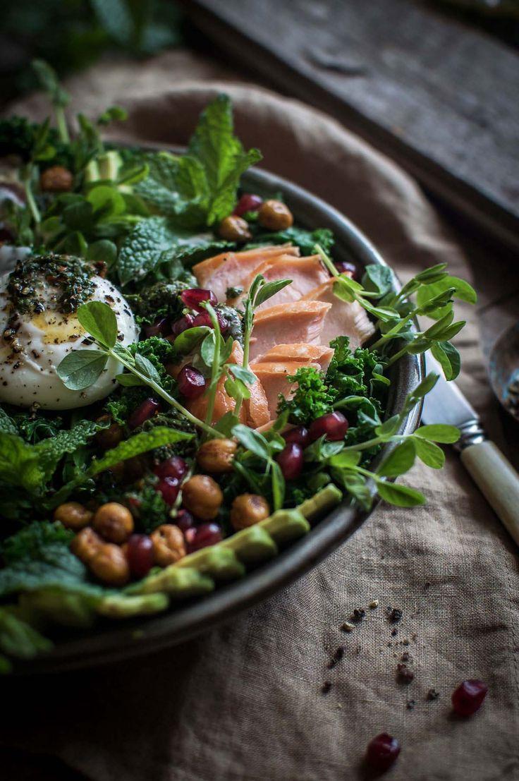 Kale salad with Petuna hot smoked ocean trout, haloumi, chickpeas, chimichurri & tahini yoghurt