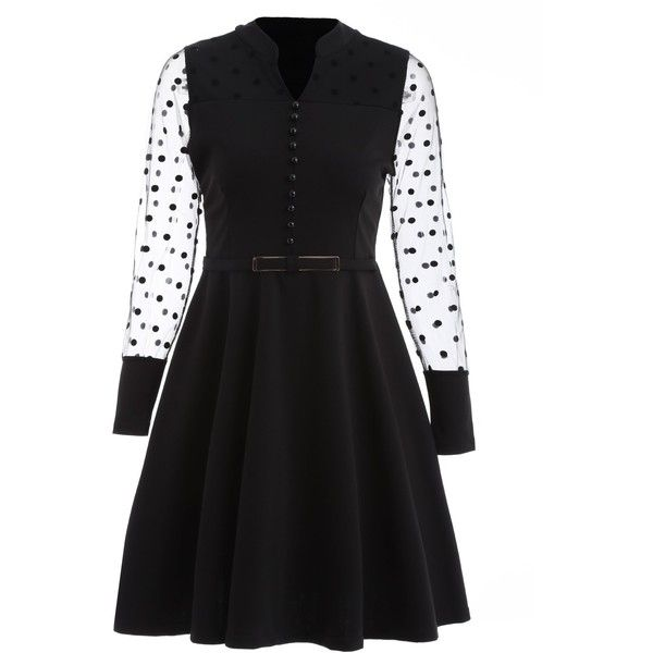 Black 2xl Mini Fit and Flare See Thru Dress (1.530 ISK) ❤ liked on Polyvore featuring dresses, fit flare dress, long sleeve fit and flare dress, mini dress, long sleeve day dresses and long sleeve dress