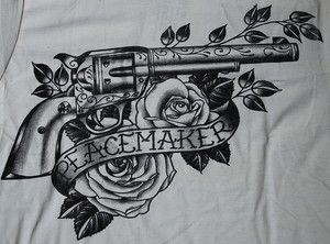 black market tattoos | Peacemaker TATTOO SHIRT Gun Colt Revolver Black Market Western Country ...