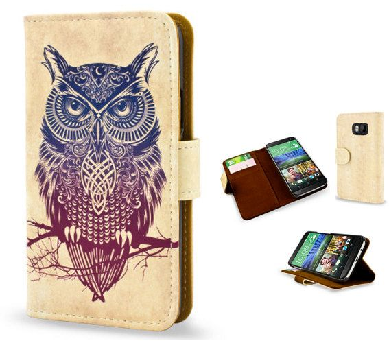 Artist Designed HTC One M8 / HTC One M9 wallet style case/cover. Colorful & unique vegan leather flip case 'Warrior Owl' tribal tattoo
