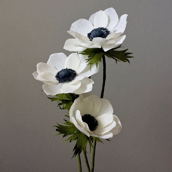 crepe paper anemone bouquet 3 stems paper flowers by
