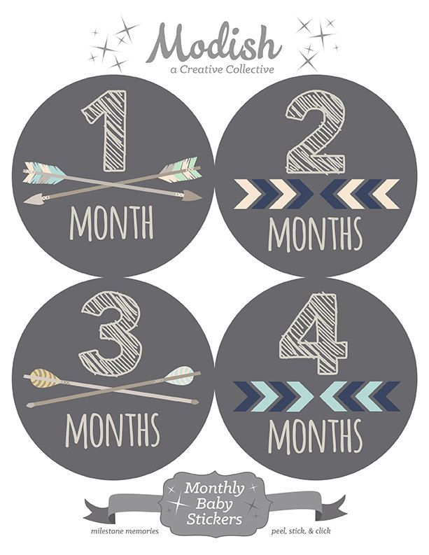 FREE GIFT, Woodland Monthly Baby Stickers Boy, Woodland Nursery Decor, Woodland Baby Month Stickers, Arrows, Chevron, Baby Boy, Gray, Grey