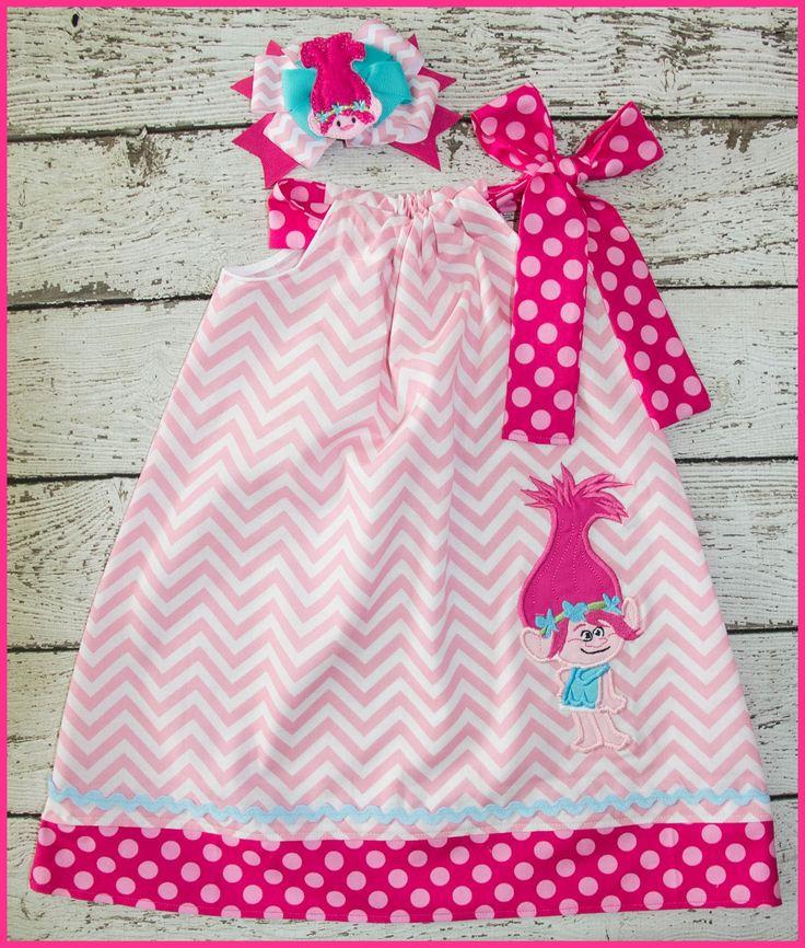 Poppy Troll Pilowcase dress Pink Chevron and Hot pink. Trolls Birthday dress. Pink chevron Poppy dress.