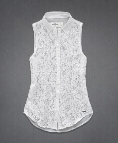 NWT ABERCROMBIE KIDS GIRLS Megan Lace Shirt White SIZE XL