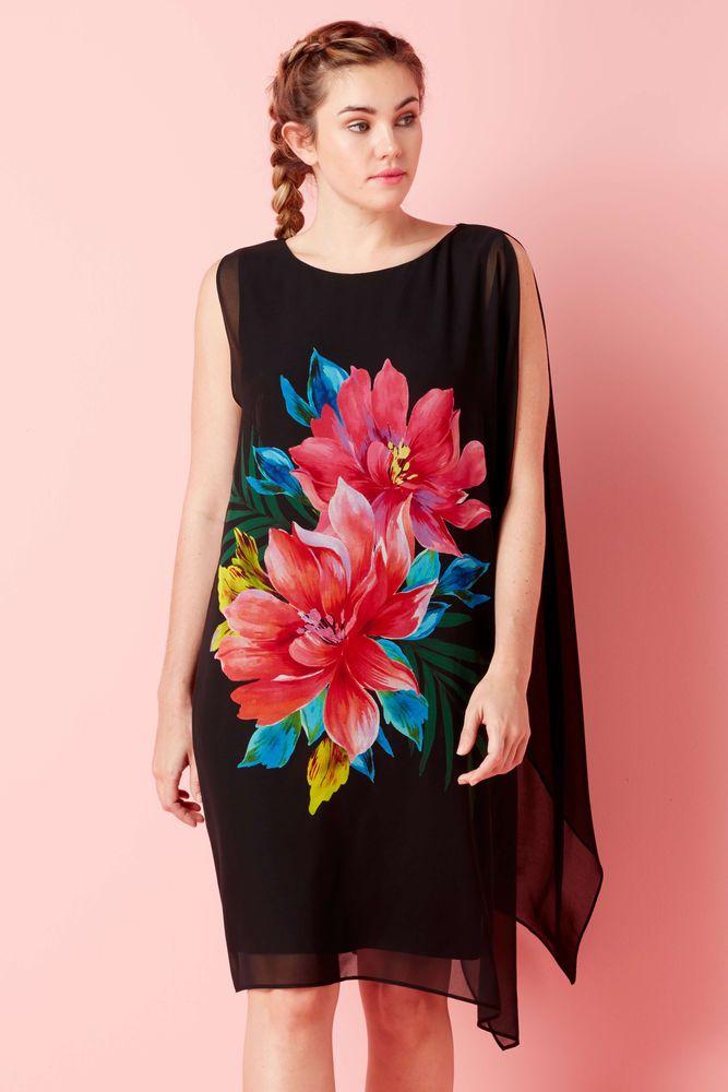 Roman Originals Ladies Rose Print Chiffon Dress Red