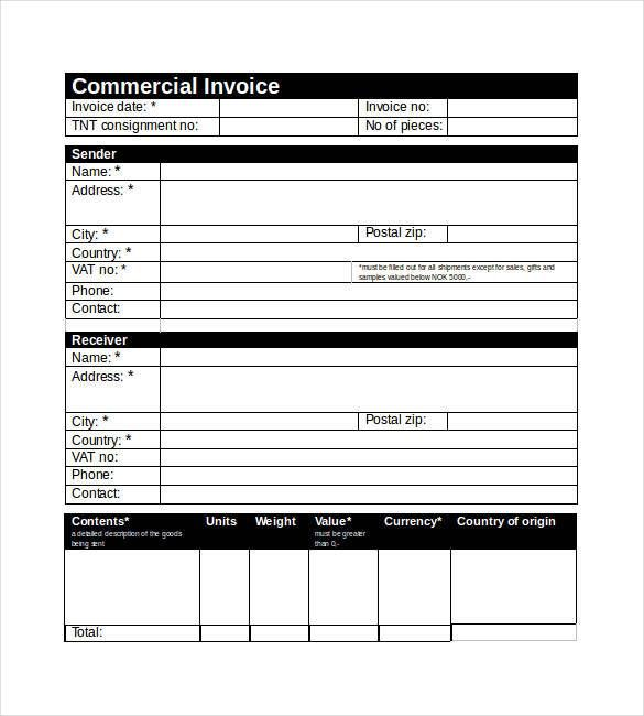 Commercial Invoice Templates 16 Free Printable Xlsx Word Samples Invoice Template Word Invoice Template Words