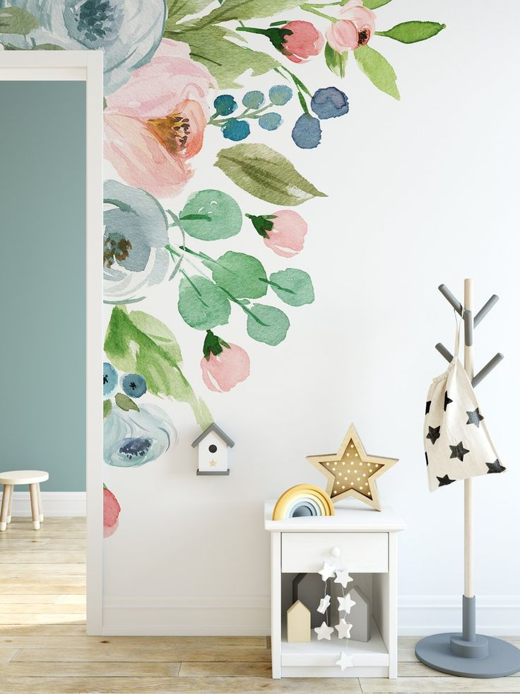 Best Wall Colors, Main Colors, Flower Mural, Flower Decals For Walls, Watercolor Walls, Floral Watercolor, Mural Wall Art, Wall Decal, Pastel Walls