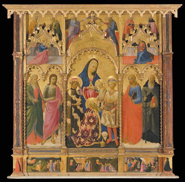 Andrea di Giusto Manzini, polittico con Adorazione dei Magi e i Santi Andrea, Giovanni Battista, Giacomo, Antonio Abate
