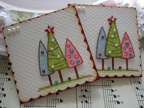 Pastel Christmas Tree Tag or card