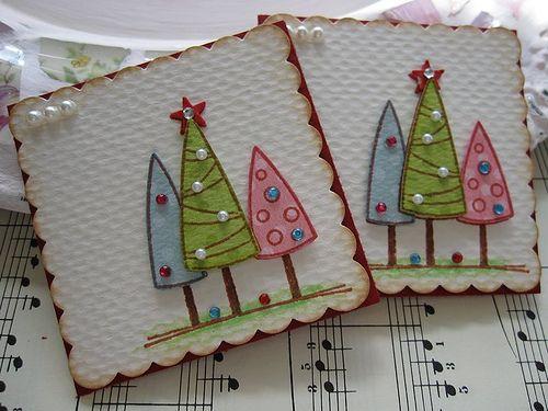 Pastel Christmas Tree Tag or card