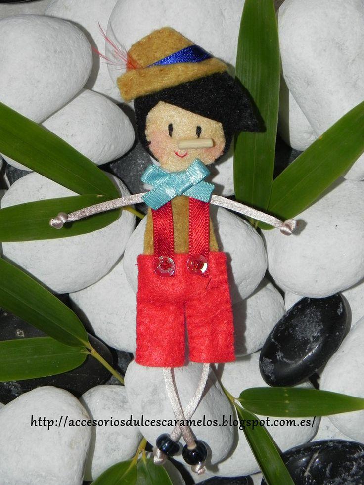 Pinocho/ Pinocchio http://accesoriosdulcescaramelos.blogspot.com.es/search/label/Mu%C3%B1ecas%20Fieltro%20Cuentos%20Infantiles