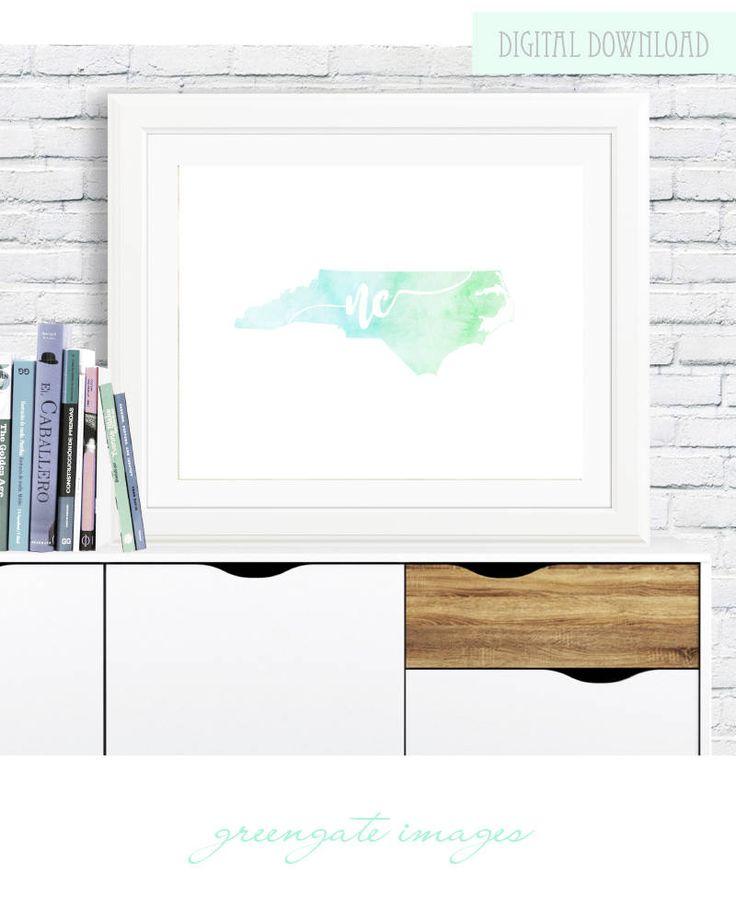 North Carolina Watercolor Printable Wall Art