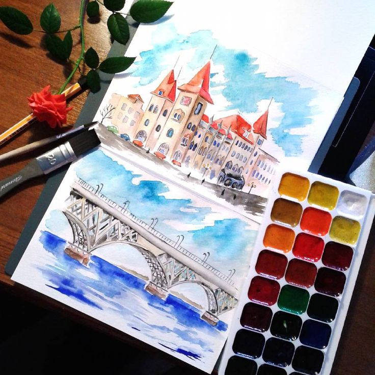 Саратову - 425 лет или с чего началась моя работа в школе 🏰 #ArtBySilmairel #MyArt #Art #Watercolor #Sketch #Саратов #Saratov #City #Conservatory #Volga #Bridge