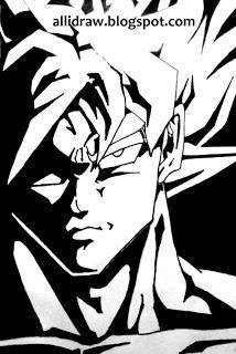 Love Dragon Ball Z? Here's a sketch of Goku - black marker on white sheet #goku #dragonballz #anime