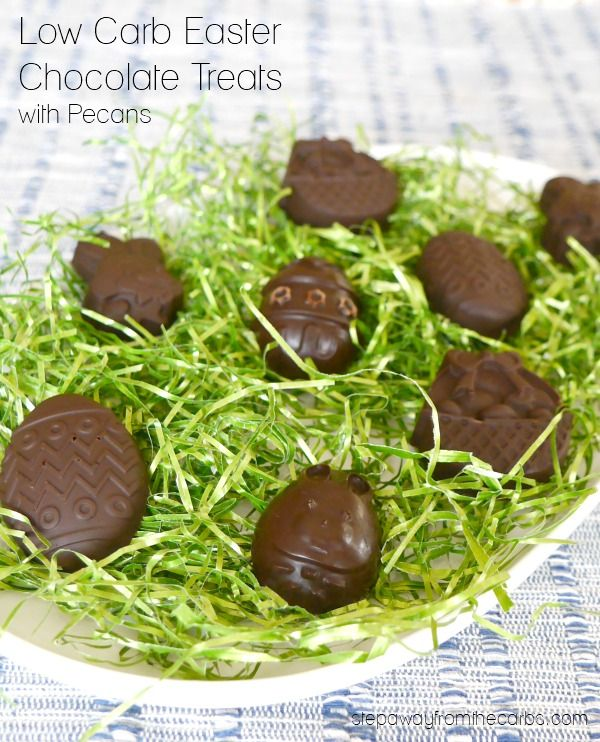 Low Carb Easter Chocolate Treats with Pecans - just two ingredients and sugar free!