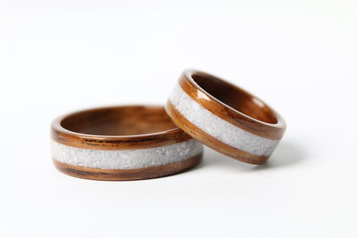Rosewood Wedding Rings with Mother of Pearl Inlay // #simplywoodrings #motherofpearl #salvaged #recycled #upcyledjewelry #woodenrings #bentwoodrings #chicago