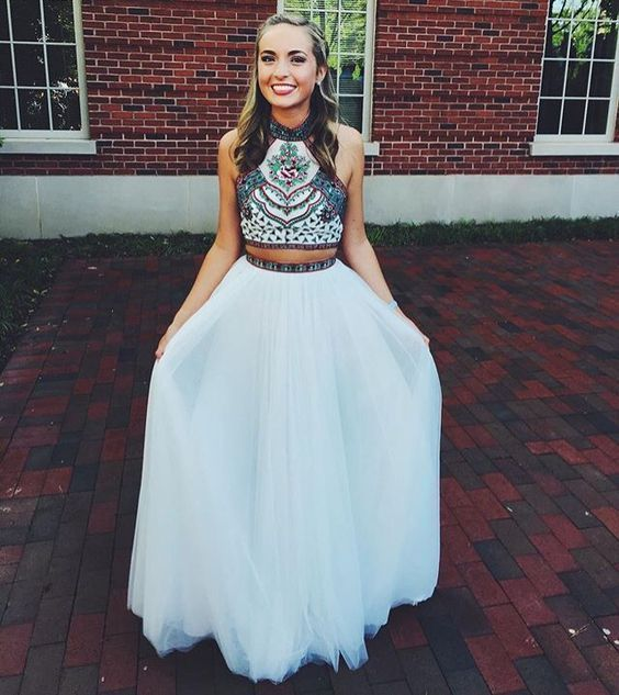 Sexy Prom Dress,Chiffon Prom Dress,Two Piece Prom Gown,Beading Evening Dress by fancygirldress, $169.00 USD