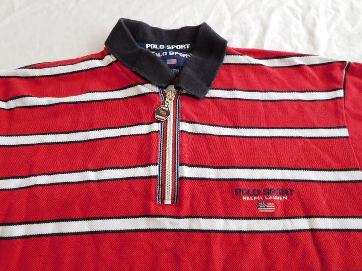 Polo Sport Ralph Lauren Rugby Shirt USA Flag Spellout M Medium Red White Striped #PoloSport #PoloRugby