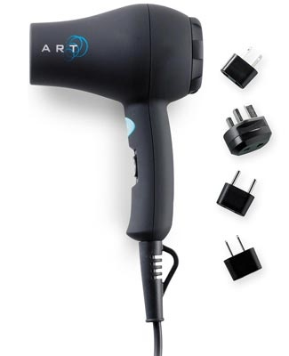 Dual-voltage 1000-Watt Ionic Hair Dryer w/Adaptor Plugs is ultra-compact for easy packing.