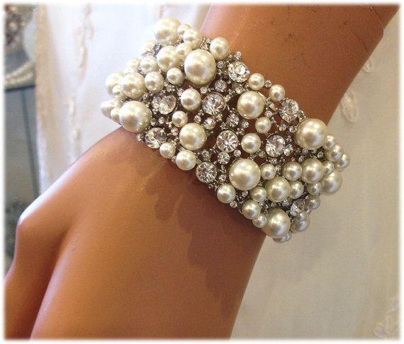 Bridal stretchable bracelet Pearl bridal cuff by GlamDuchess