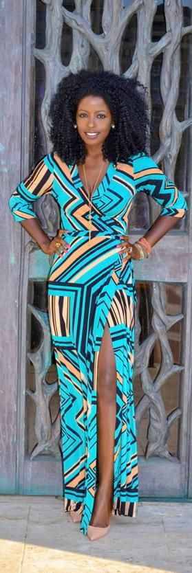 This dress!!!! #Everything ------> Geometric Print Maxi Dress