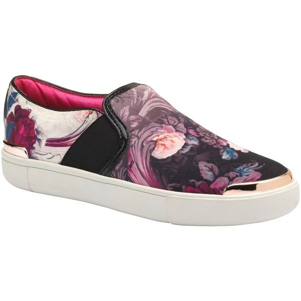 Ted Baker Laulei Slip On Trainers, Purple Print (1 045 SEK) ❤ liked on Polyvore featuring shoes, sneakers, pull on sneakers, low sneakers, slip on sneakers, purple flat shoes and print sneakers