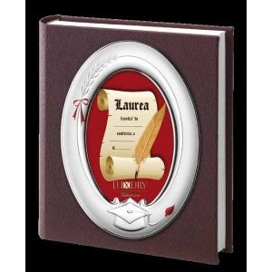 Album portafoto in pelle con cornice in argento.