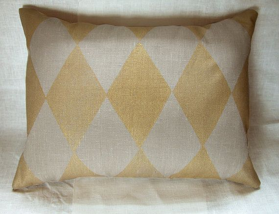 Metallic Gold on Warm Gray Harlequin hand printed linen home decor lumbar pillow case on Etsy, $40.00