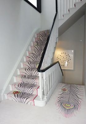 Peacock feather stair carpet