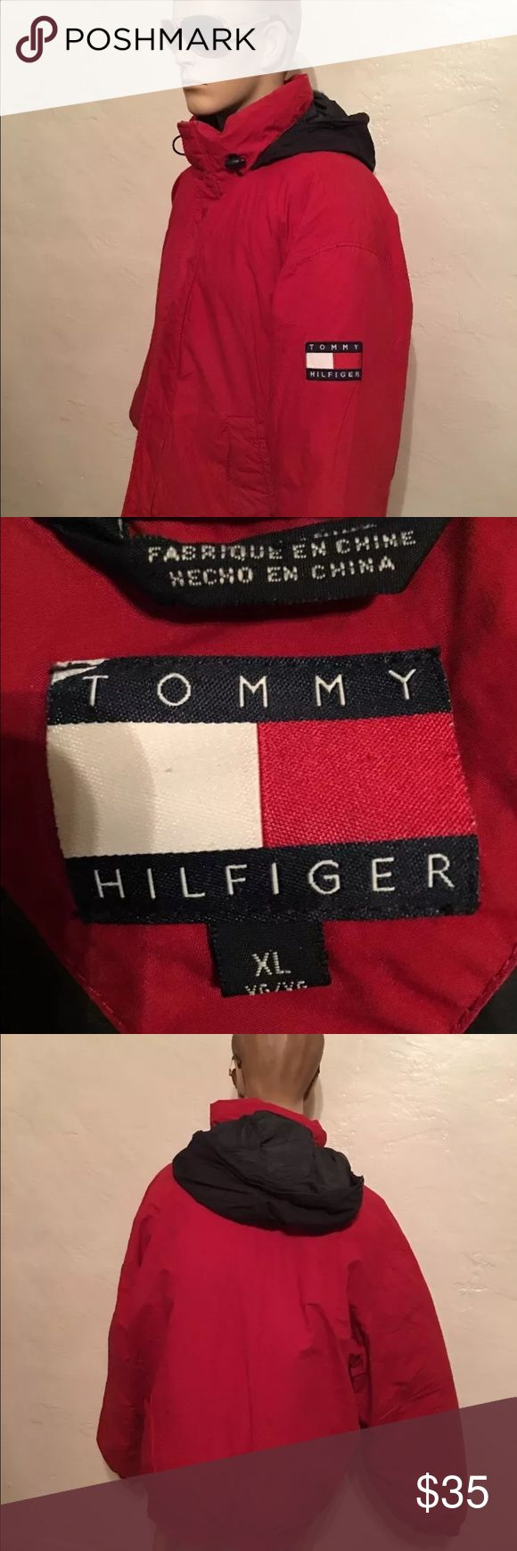 MENS TOMMY HILFIGER 90s VINTAGE DOWN COT JACKET XL AWESOME VINTAGE 1990s TOMMY HILFIGER DOWN JACKET ...COTTON SHELL WITH 60% DOWN FILLING AND 40% FEATHERS. PREOWNED AND WORN MINOR COSMETIC WEAR FRONT ZIPS AND SNAPS SEE PHOTOS TOMMY HILFIGER Jackets & Coats Bomber & Varsity