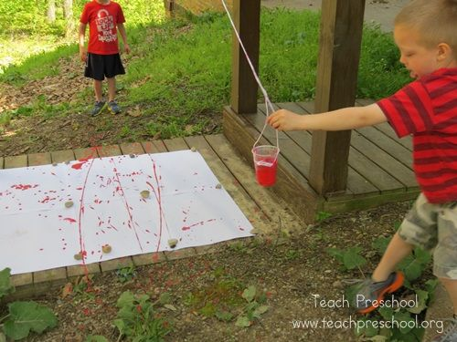 Pendulum Painting in Preschool by Teach Preschool
