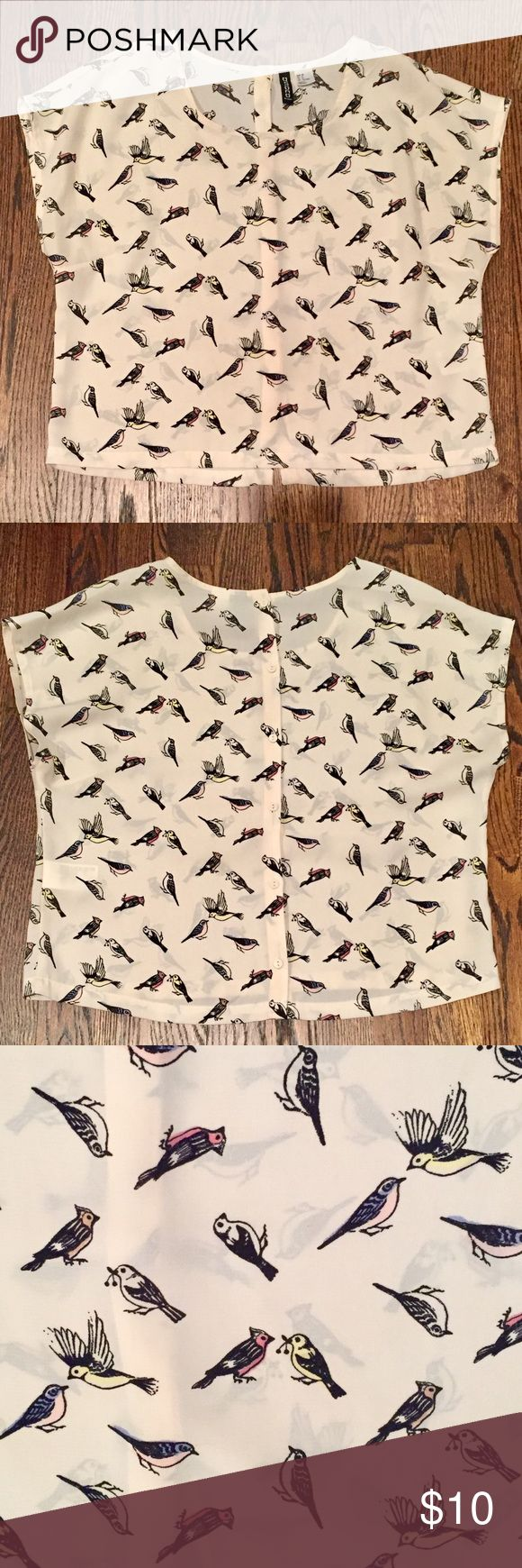H&M Button Back Bird Shirt Adorable button back shirt with bird print. Great condition! Divided by H&M. size 8. Divided Tops Blouses
